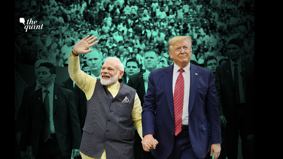 Image of PM Modi and President Trump, hand-in-hand at the Houston rally on 22 Sept 2019.