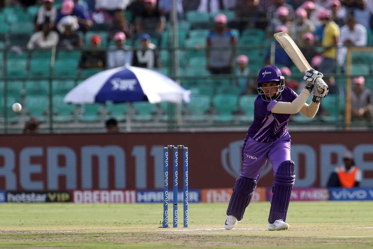 Shafali Verma plays a shot during the 2019 Women's T20 Challenge match between the Trailblazers and Velocity held at the Sawai Mansingh Stadium in Jaipur on the 8th May.