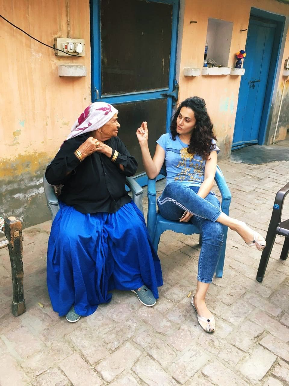 Taapsee Pannu at Chandro Tomar's house in Johri village, Baghpat.