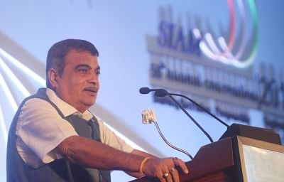 """New Delhi: Union Road Transport and Highways Minister Nitin Gadkari addresses at the 59th SIAM annual convention """"Building the Nation, Responsibly – Moving into A New Era of Auto Industryâ€Â� in New Delhi, on Sep 5, 2019. (Photo: IANS)"""