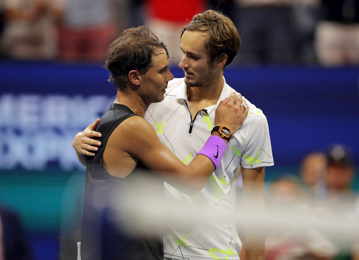 Daniil Medvedev, of Russia, congratulates Rafael Nadal, of Spain, after Nadal won the men's singles final of the U.S. Open tennis championships Sunday, Sept. 8, 2019, in New York.