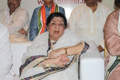 Mumbai: Singer Lata Mangeshkar during the press conference to announce the launch of Gurukal Vishwashanti Sangeet Kala Academy in Mumbai on May 12, 2017. (Photo: IANS)