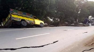 MIRPUR, Sept. 24, 2019 (Xinhua) -- Photo taken with a mobile phone shows a damaged road at the earthquake-hit area in Mirpur district of Pakistan-controlled Kashmir on Sept. 24, 2019. A 5.8-magnitude earthquake hit parts of Pakistan on Tuesday. (Str/Xinhua/IANS)