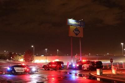 HOUSTON, Aug. 4, 2019 (Xinhua) -- Police cordon off Walmart shopping mall area in El Paso, Texas, the United States on Aug. 3, 2019. A mass shooting on Saturday killed at least 20 and injured 26 others in the U.S. state of Texas, local officials said at a press conference. (Xinhua/Liu Liwei/IANS)