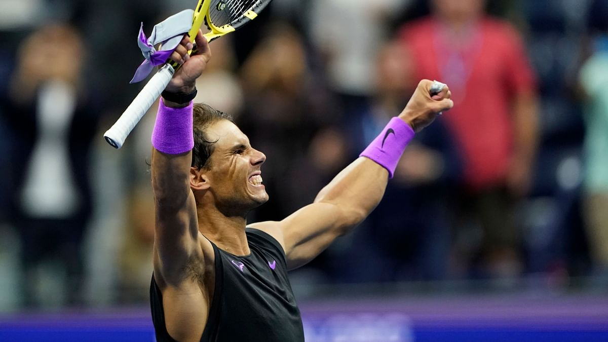 Rafael Nadal, of Spain, celebrates after defeating Matteo Berrettini, of Italy, in the men's singles semifinals of the U.S. Open tennis championships Friday, Sept. 6, 2019, in New York.
