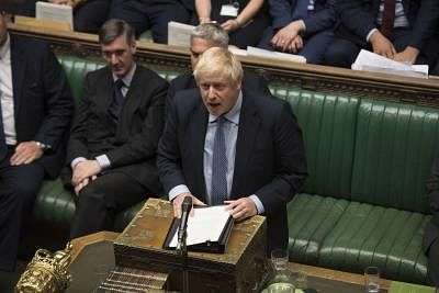 LONDON, Sept. 4, 2019 (Xinhua) -- British Prime Minister Boris Johnson (C) speaks in the House of Commons in London, Britain, on Sept. 4, 2019. British lawmakers on Wednesday rejected a motion tabled by Prime Minister Boris Johnson calling for a general election on Oct. 15, dealing another blow to the prime minister, who vowed to take his country out of the European Union on Oct. 31 with or without a deal. (Jessica Taylor/UK Parliament/Handout via Xinhua/IANS)