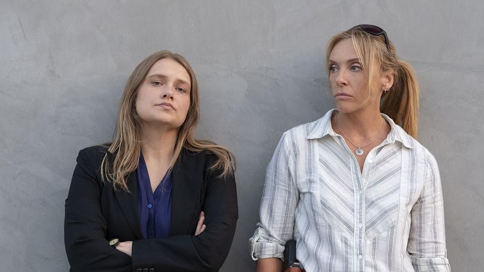 Merritt Wever and Toni Collette in a scene from <i>Unbelievable</i>.