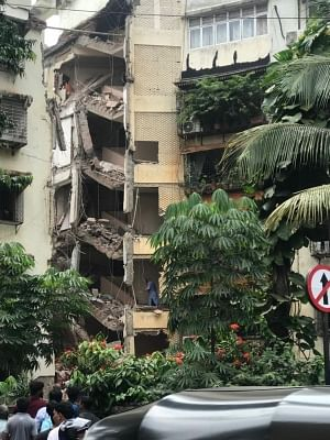 Mumbai: A portion of a five-storey building collapsed at Khar in Mumbai on Sep 24, 2019. (Photo: IANS)