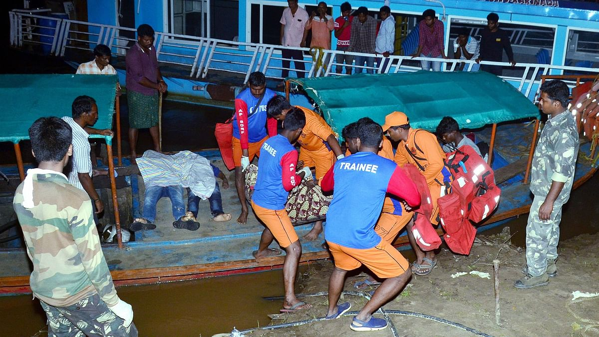 APSDRF personnel rescue passengers of a boat which capsized in the swollen Godavari river in East Godavari district of Andhra Pradesh.