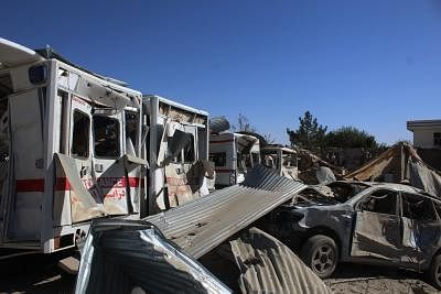 QALAT, Sept. 19, 2019 (Xinhua) -- Photo taken on Sept. 19, 2019 shows damaged vehicles at the site of a car bomb attack in Qalat, capital of Zabul province, Afghanistan. The death toll of a car bomb on Thursday that rocked Qalat city, the capital of southern Afghanistan