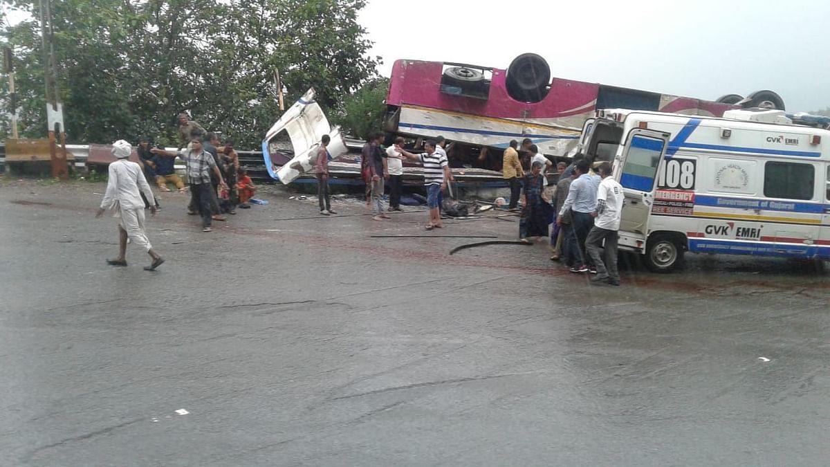 At least 18 people were killed after a bus overturned near Trishuliya Ghat in Ambaji town of Banaskantha district in Gujarat.