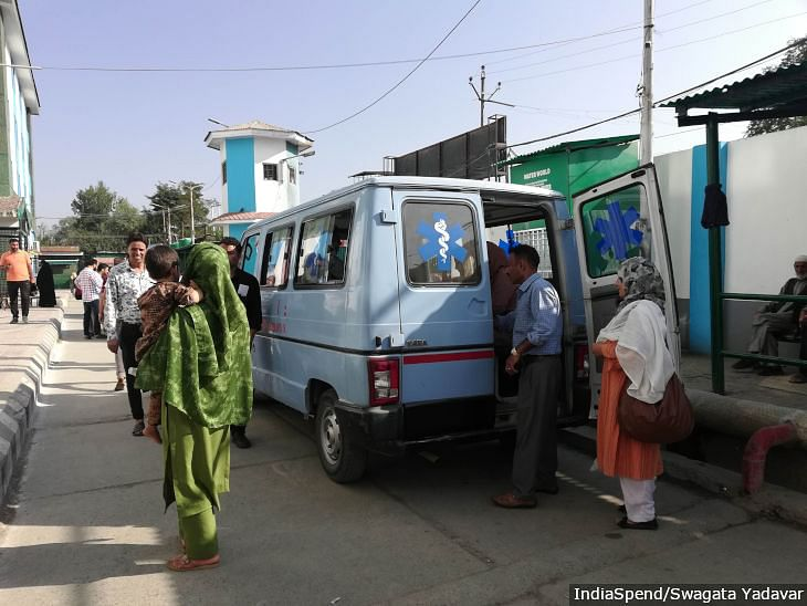 Ambulances are used to ferry doctors and hospital staff to and from hospitals in Kashmir due to security concerns and a lack of public transport.