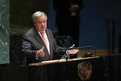 UNITED NATIONS, Sept. 24, 2019 (Xinhua) -- The United Nations (UN) Secretary-General Antonio Guterres addresses the opening of the General Debate of the 74th session of the UN General Assembly at the UN headquarters in New York, Sept. 24, 2019. (Xinhua/Li Muzi/IANS)