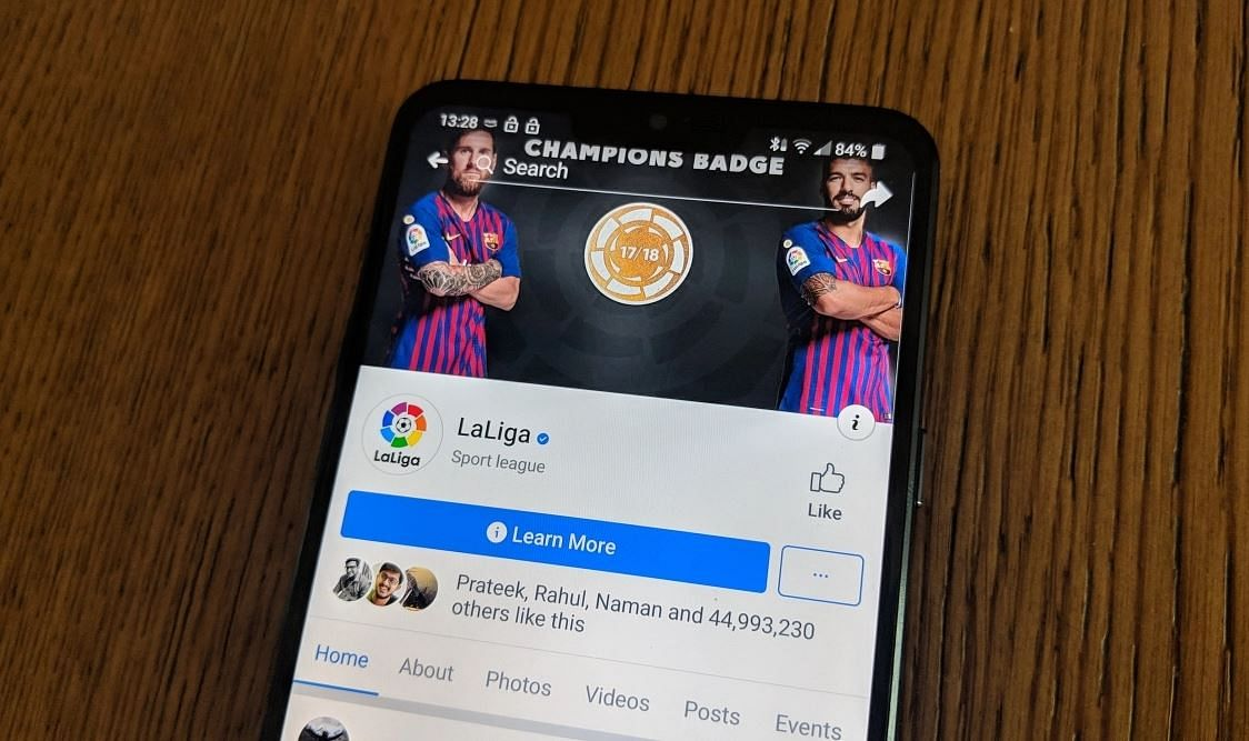 La Liga page on Facebook is likely to add new people