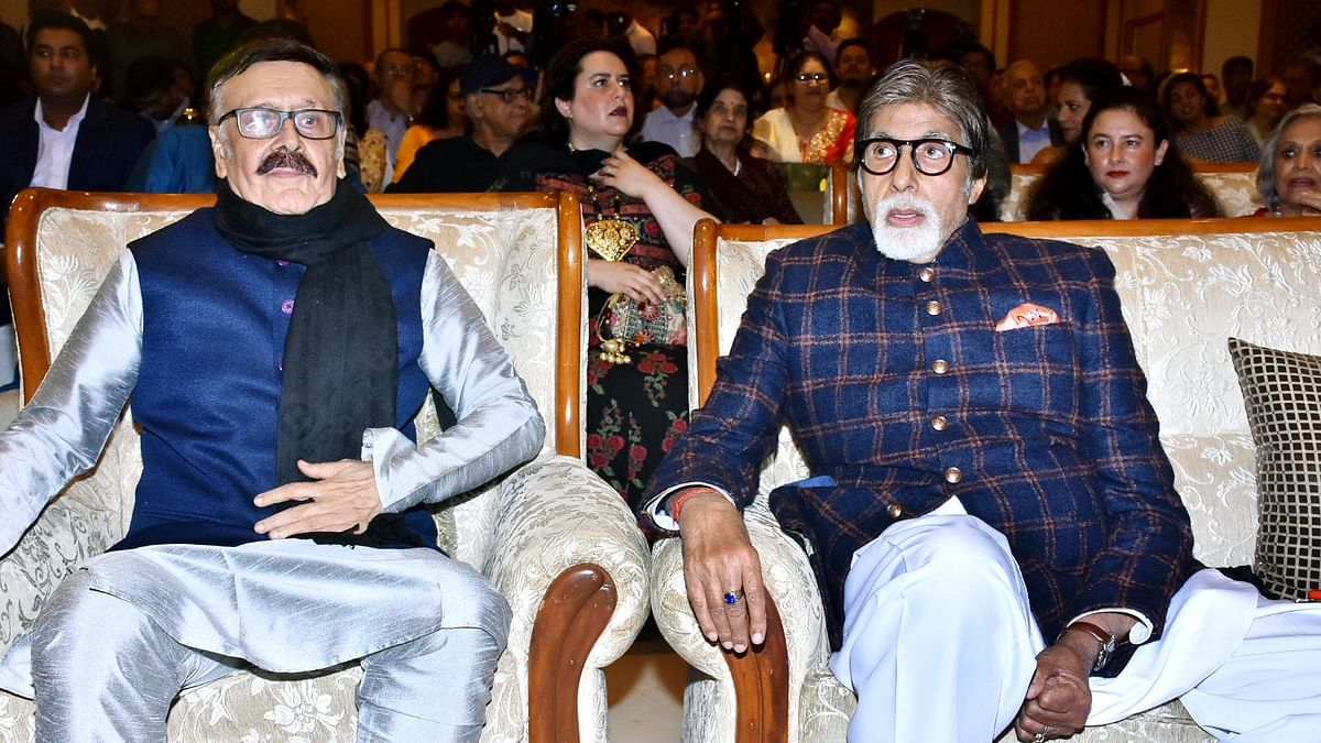 Amitabh Bachchan with Parikshat Sahni at the book launch of The Non-Conformist: Memories Of My Father Balraj Sahni.