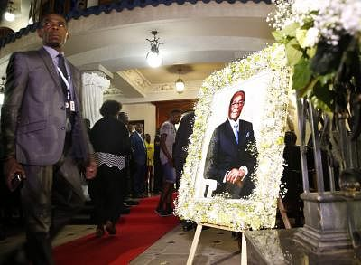 HARARE, Sept. 11, 2019 (Xinhua) -- A portrait of the late former Zimbabwean President Robert Mugabe is seen at Mugabe