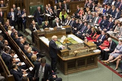 LONDON, Sept. 3, 2019 (Xinhua) -- British Prime Minister Boris Johnson (C) speaks in the House of Commons in London, Britain, on Sept. 3, 2019. British Prime Minister Boris Johnson on Tuesday lost a key Brexit vote in the House of Commons as anti-no deal MPs take control of the parliamentary business. (Roger Harris/UK Parliament/Handout via Xinhua/IANS)