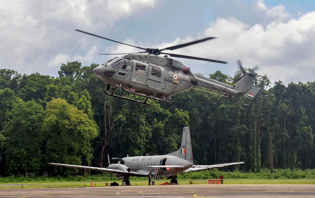 An ALH MK III Helicopter is used to demonstrate skills at Tezpur Air Force Station as part of the Diamond Jubilee celebration of the Indian Air Force Station in Tezpur, Thursday, 26 September.