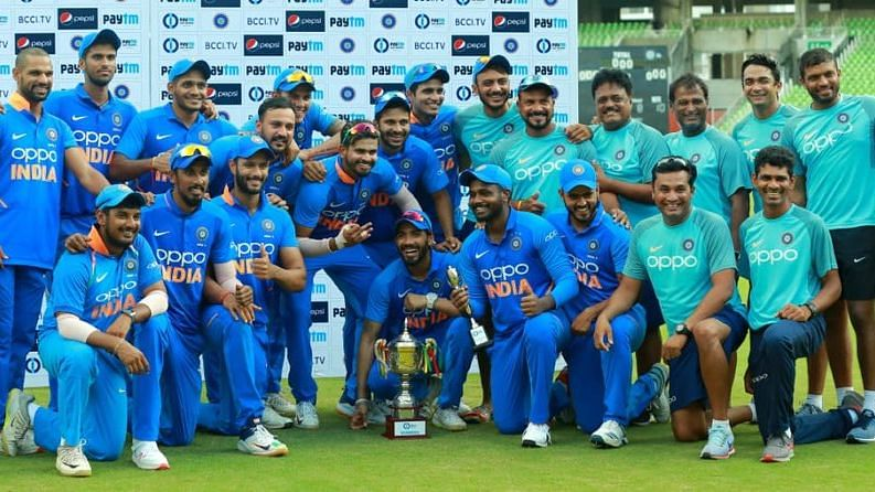 India A with the winners trophy after beating South Africa A in the unofficial ODI series.
