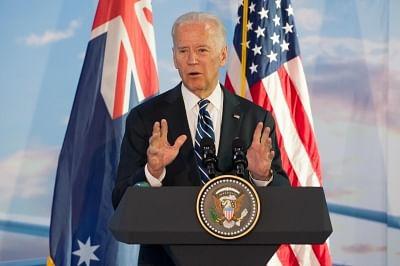 MELBOURNE, JULY 18, 2016 (Xinhua) -- U.S. Vice President Joe Biden addresses workers and staffs of the Boeing Aerostructures Australia plant in Melbourne, Australia, July 18, 2016. Biden is on a visit to Australia from July 17-20. (Xinhua/Bai Xue/IANS)
