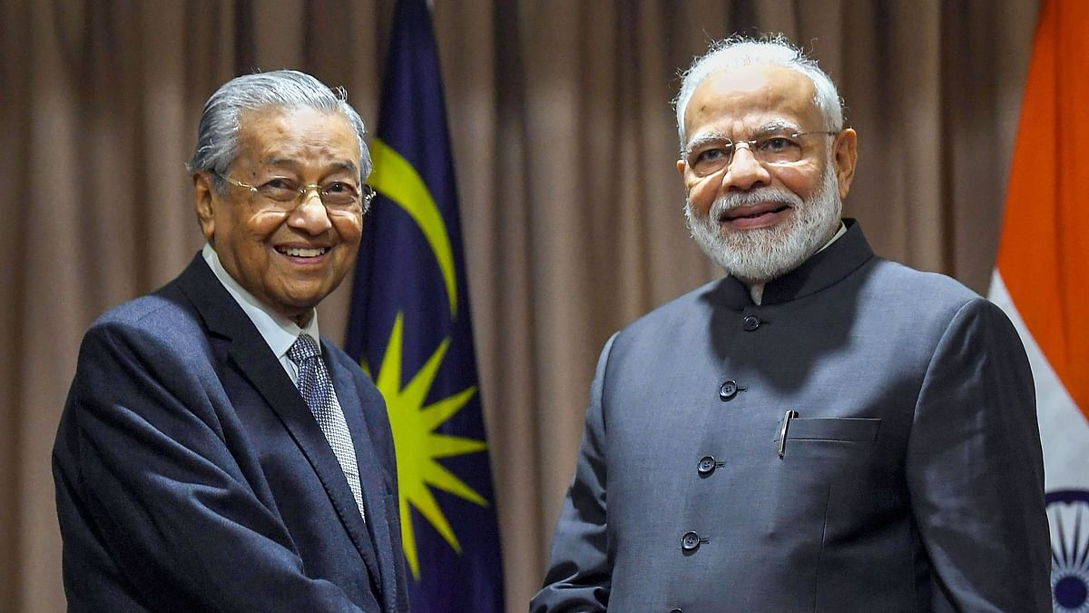 Prime Minister Narendra Modi with his Malaysian counterpart Mahathir Mohamad, on the sidelines of fifth Eastern Economic Forum, at Vladivostok, in Russia.