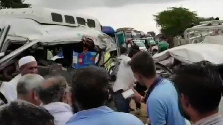 The accident occur when the tyre of the minibus burst causing driver to collide with Bolero.