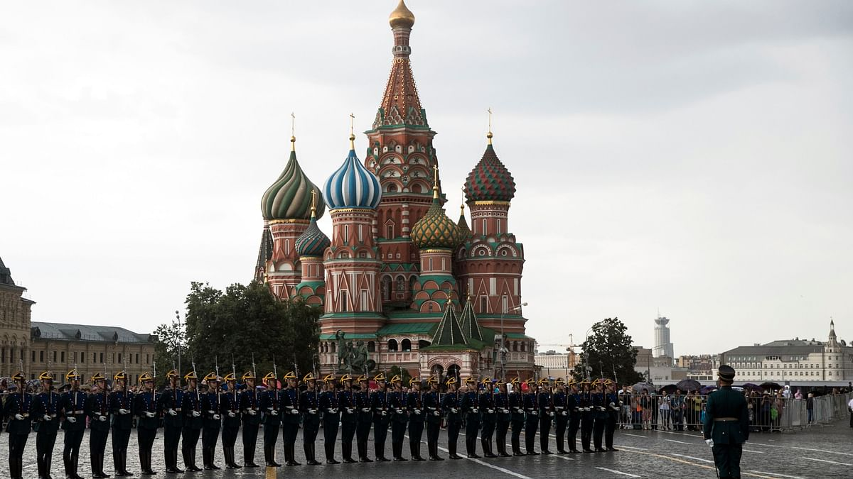 In this June 30, 2018, file photo, Kremlin guards perform in Red Square with St. Basil's Cathedral in the background in Moscow, Russia. For representative purposes only.