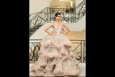 Diana Penty chooses a stunning beige coloured off-shoulder gown at Cannes Film Festival.