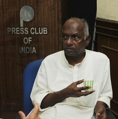 New Delhi: Former BJP ideologue K.N. Govindacharya during a press conference in New Delhi, on May 12, 2015. (Photo: IANS)
