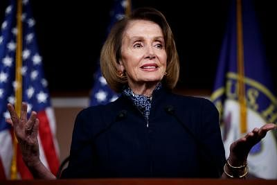 WASHINGTON D. C., Jan. 18, 2019 (Xinhua) --This file photo taken on Dec. 13, 2018 shows Nancy Pelosi speaking during a press conference on Capitol Hill in Washington D.C., the United States. U.S. President Donald Trump on Thursday told Speaker Nancy Pelosi that her planned foreign trip has been postponed, one day after the top House Democrat asked him to delay the State of the Union address due to the ongoing partial government shutdown. (Xinhua/Ting She/IANS)