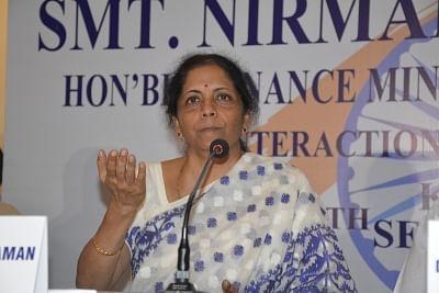 Kolkata: Union Finance Minister Nirmala Sitharaman during press conference in Kolkata on Sep 6, 2019. (Photo: IANS)