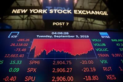 NEW YORK, Sept. 3, 2019 (Xinhua) -- An electronic screen shows the trading data at the New York Stock Exchange in New York, the United States, on Sept. 3, 2019. U.S. stocks closed lower on Tuesday. The Dow Jones Industrial Average fell 285.26 points, or 1.08 percent, to 26,118.02. The S&P 500 was down 20.19 points, or 0.69 percent, to 2,906.27. The Nasdaq Composite Index fell 88.72 points, or 1.11 percent, to 7,874.16. (Xinhua/Guo Peiran/IANS)