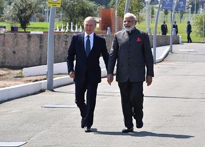 Vladivostok: Prime Minister Narendra Modi meets Russian President Vladimir Putin in Vladivostok, Russia on Sep 4, 2019. (Photo: IANS/MEA)