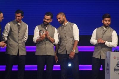 Indian skipper Virat Kohli, Shikhar Dhawan, Rishabh Pant and Navdeep Saini. (Photo: IANS)
