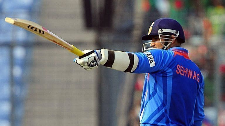 Sehwag wearing his numberless jersey.