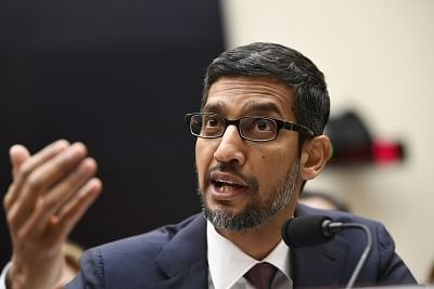 """WASHINGTON, Dec. 11, 2018 (Xinhua) -- Google CEO Sundar Pichai testifies before U.S. House of Representatives Judiciary Committee during a hearing """"Transparency & Accountability: Examining Google and its Data Collection, Use and Filtering Practices"""" on Capitol Hill in Washington D.C., the United States, on Dec. 11, 2018. (Xinhua/Liu Jie/IANS)"""