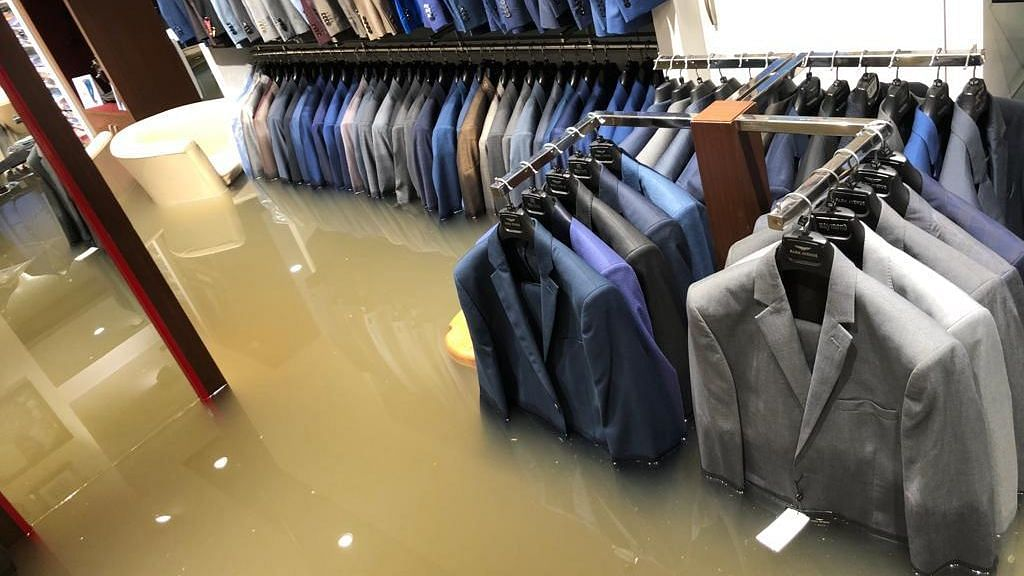 A flooded clothing store in Bihar's Patna.