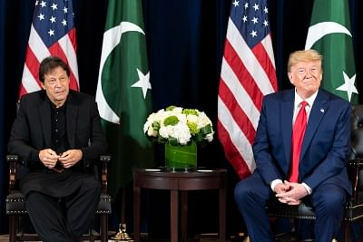 United States President Donald Trump and Pakistan Prime Minister Imran Khan at their meeting in New York on Monday, September 23, 2019. (Photo: White House/IANS)