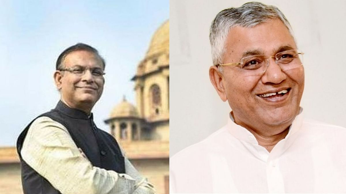 From left to right, BJP MPs Jayant Sinha and P P Choudhary, heads of the panels on finance and external affairs respectively. Previously this panel as headed by Congress MPs.