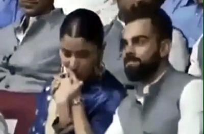 A soft kiss planted on India skipper Virat Kohli