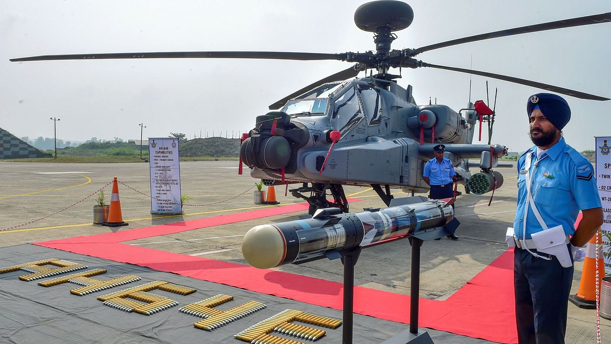 The US-made Apache AH-64E attack helicopter during its induction ceremony into the Indian Air Force.