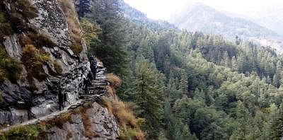 Chamba valley: A team of 3rd Battalion of Madras Regiment undertaking adventure trekking expedition from Mcleodganj to Chamba valley. (Photo: IANS)