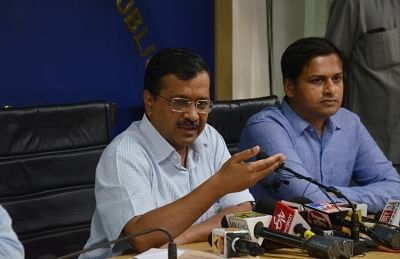 New Delhi: Delhi Chief Minister Arvind Kejriwal addresses a press conference in New Delhi on Sep 13, 2019. The CM on Friday announced that the Odd-Even scheme will be back in November, to tackle the rising menace of pollution just around the time of Diwali. The scheme will be enforced on November 4 and will continue till November 15. (Photo: IANS)