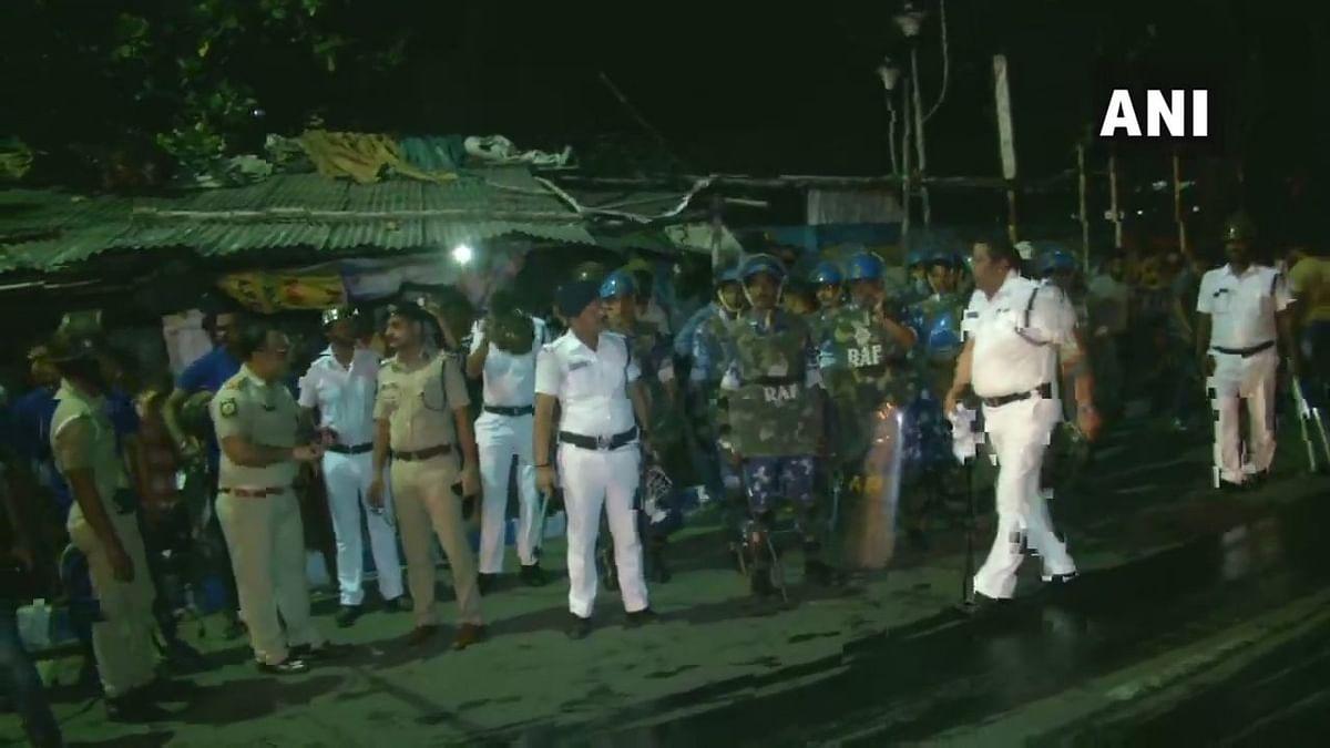 Heavy security deployed outside Jadavpur University in Kolkata.