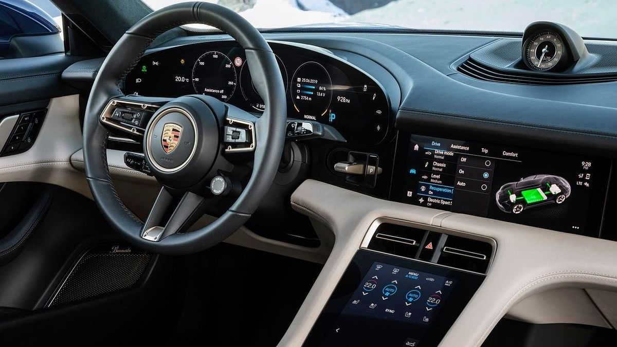 The interiors of the Porsche Taycan feature mostly touch-based controls.