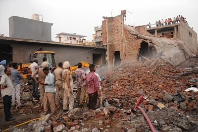 Gurdaspur: Rescue operations underway at the site of a blast at an unauthorized firecracker factory in a residential in Batala town of Punjab