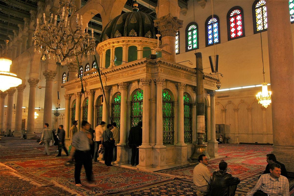 The tomb of John the Baptist inside Umayyad Mosque, the showpiece of Damascus.