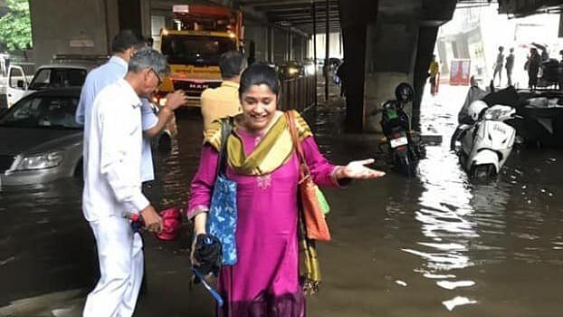 Renuka Shahane was caught in the Mumbai rains on Wednesday 8 September.