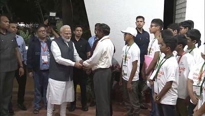 Bengaluru: Prime Minister Narendra Modi with ISRO Chairman K Sivan before leaving ISRO Centre in Bengaluru on Sep 7, 2019. (Photo: IANS/ISRO)