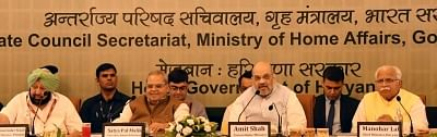 Chandigarh: Union Home Minister Amit Shah presides over the 29th Meeting of the Northern Zonal Council in Chandigarh, on Sep 20, 2019. Also seen Punjab Chief Minister Amarinder Singh, J&K Governor Satya Pal Malik and Haryana Chief Minister Manohar Lal Khattar. (Photo: IANS)
